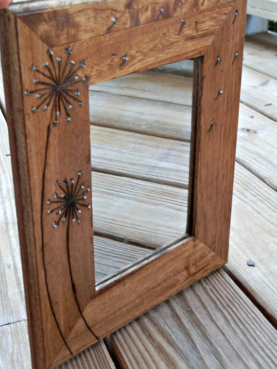 Dandelion Woodburned Mirror Rustic Wood Mirror My