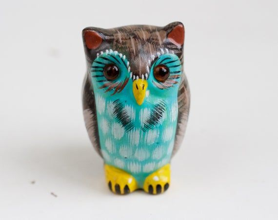 Turquoise Owl Colorful Ceramic Ornament Vintage Clay