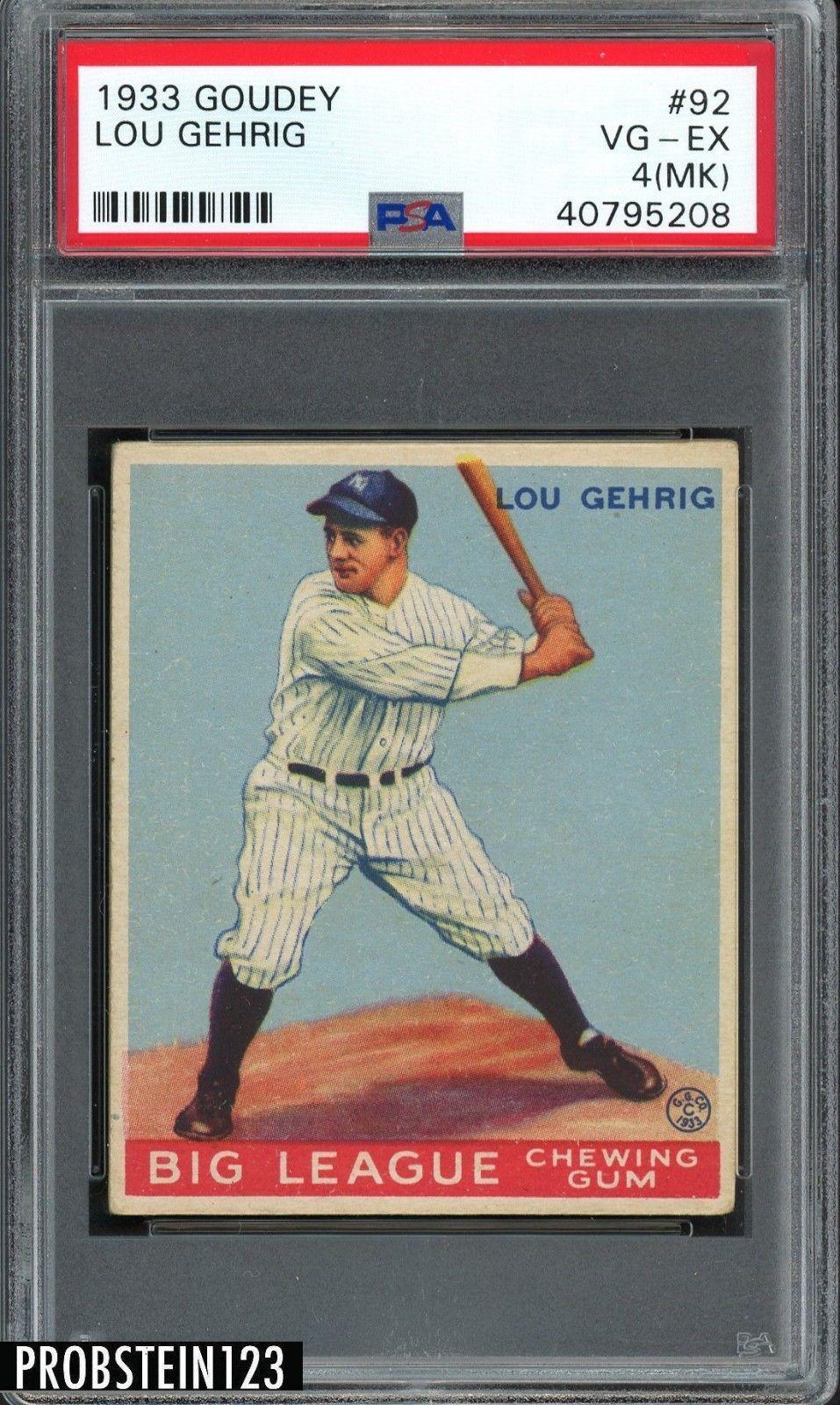 1933 goudey 92 lou gehrig new york yankees hof psa 4 mk