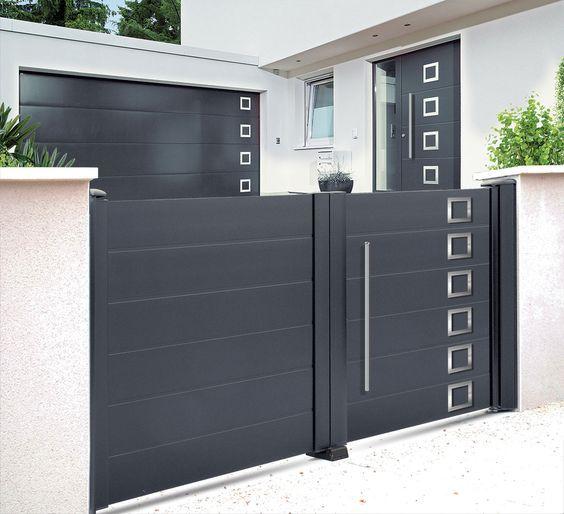 Portail Boreal Affinity Line 2 Vantaux Options Motif 451 Et Poignee Baton De Marechal House Gate Design Main Gate Design Gate Design