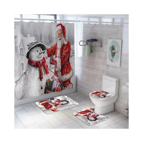 Santa Claus Snowman Christmas Shower Curtain Set Christmas