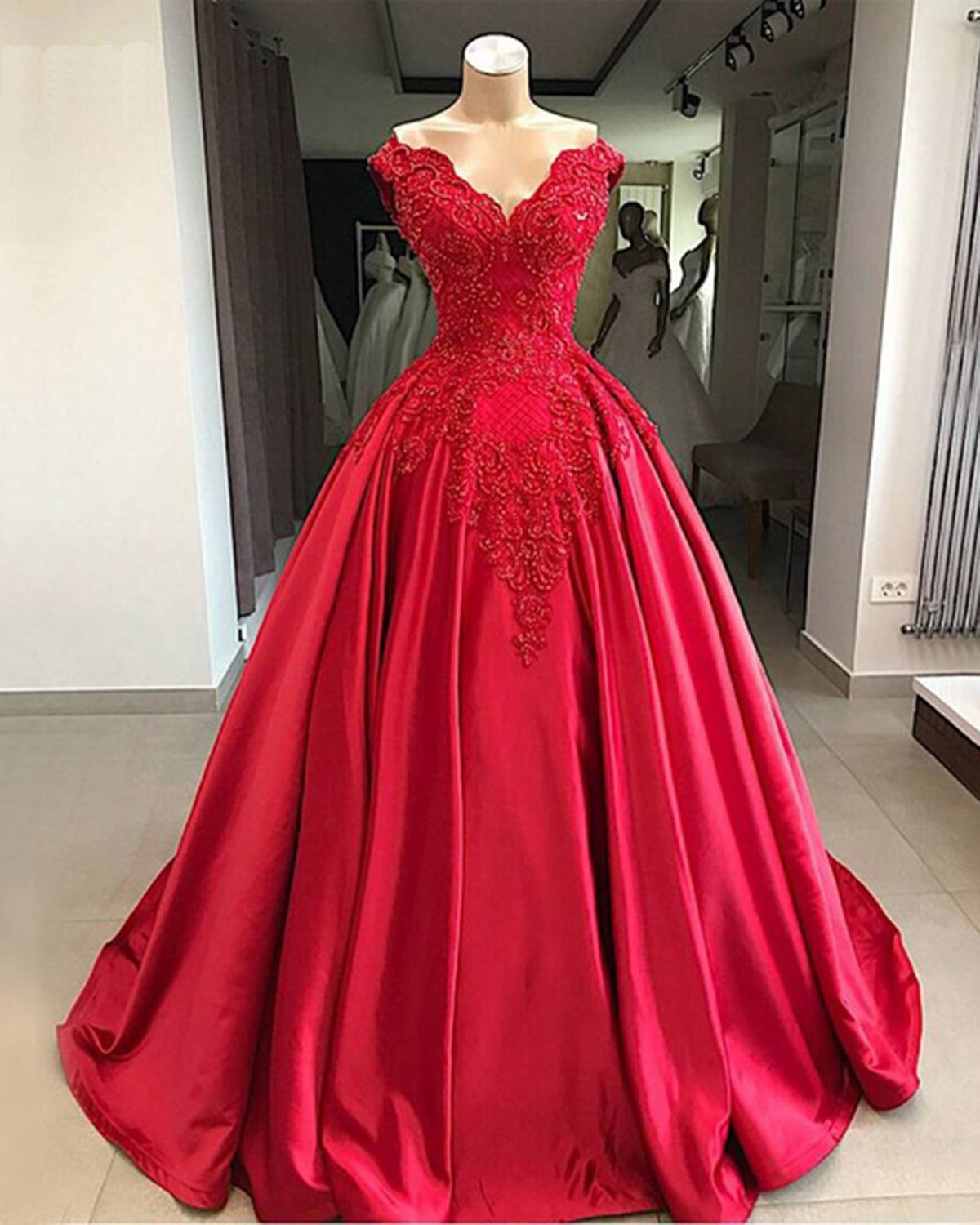 Red Satin Off Shoulder Customize Prom Gown, Long Beaded