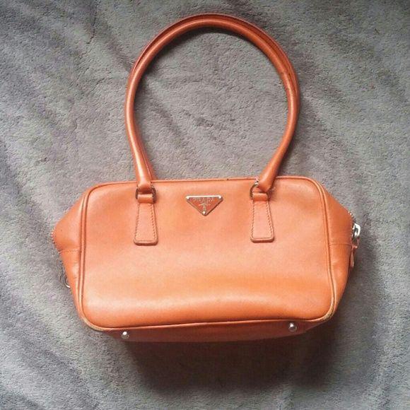 c0ed8acfdd1183 Authentic Prada Saffiano Leather Shoulder/Hand Bag Cute little orange Prada  bag, missing the