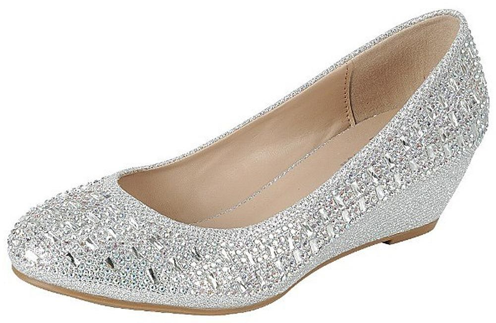 nice cheap low cost best deals on Forever Womens Low Wedge Heel Closed Toe Wedding Party Dress ...