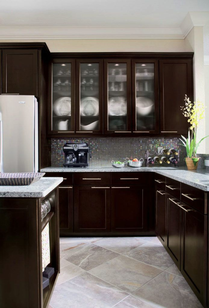 Espresso Painted Kitchen Cabinets