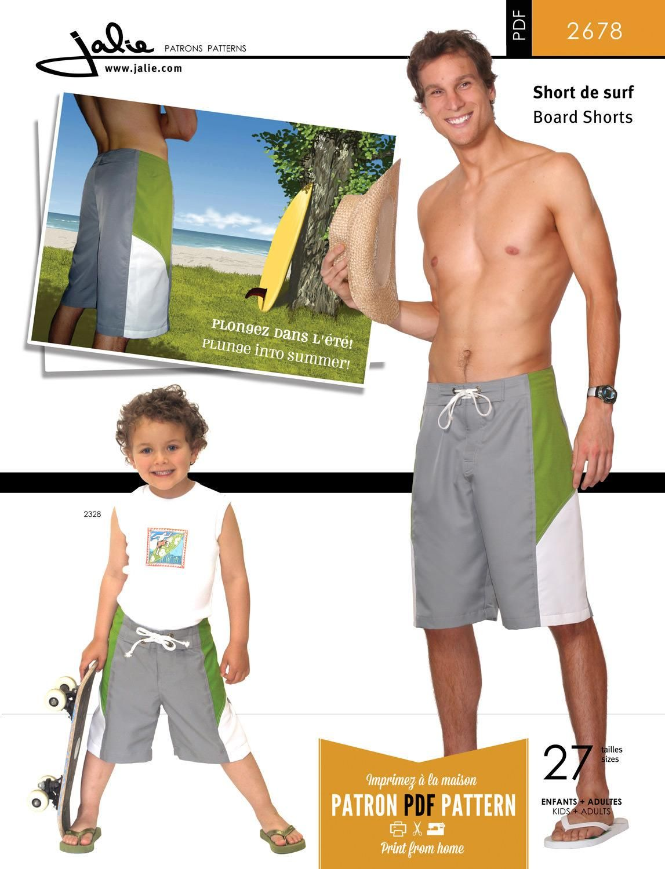 Jalie 2678 - PDF Pattern for Board Shorts | PDF Patterns | Pinterest