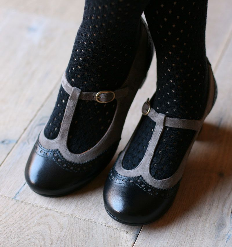 How Cute Are These Black Grey T Strap Shoes