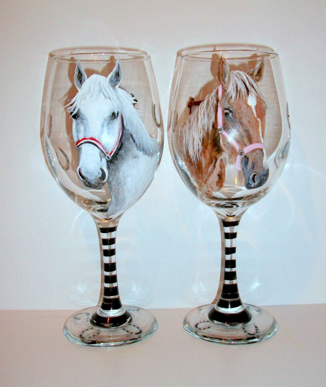 Custom pet portrait hand painted wine glasses horse for Hand painted glassware