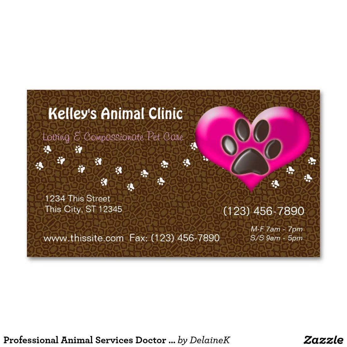 Professional animal services doctor u pick color double sided professional animal services doctor u pick color double sided standard business cards pack of reheart Image collections