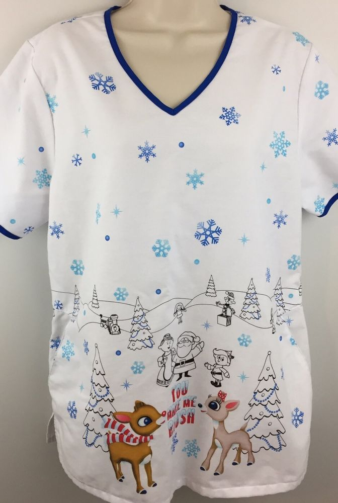 f54354f87b2 Rudolph The Red nosed Reindeer Clarice Blue White Scrub Top Medium M ...