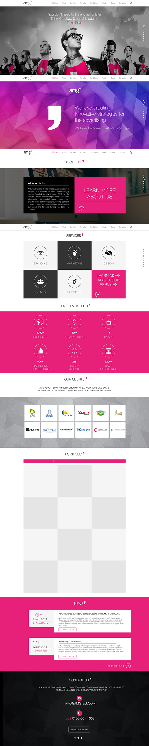 "Front-End Development on ""Feel the power of Pink""  by Mustafa El-Helbawy, via Behance"