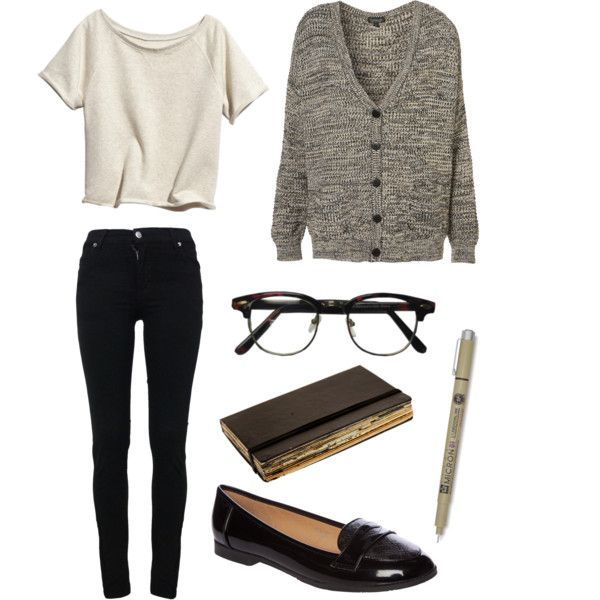 A fashion look from January 2013 featuring brown cardigan, black skinny jeans and flat shoes. Browse and shop related looks.