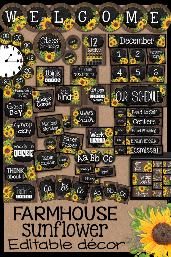 Farmhouse Sunflower Classroom Decor Theme BUNDLE #elementaryclassroomdecor