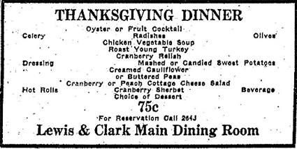 1935 Ad For Thanksgiving Dinner At The Lewis Clark Hotel Mandan Nd