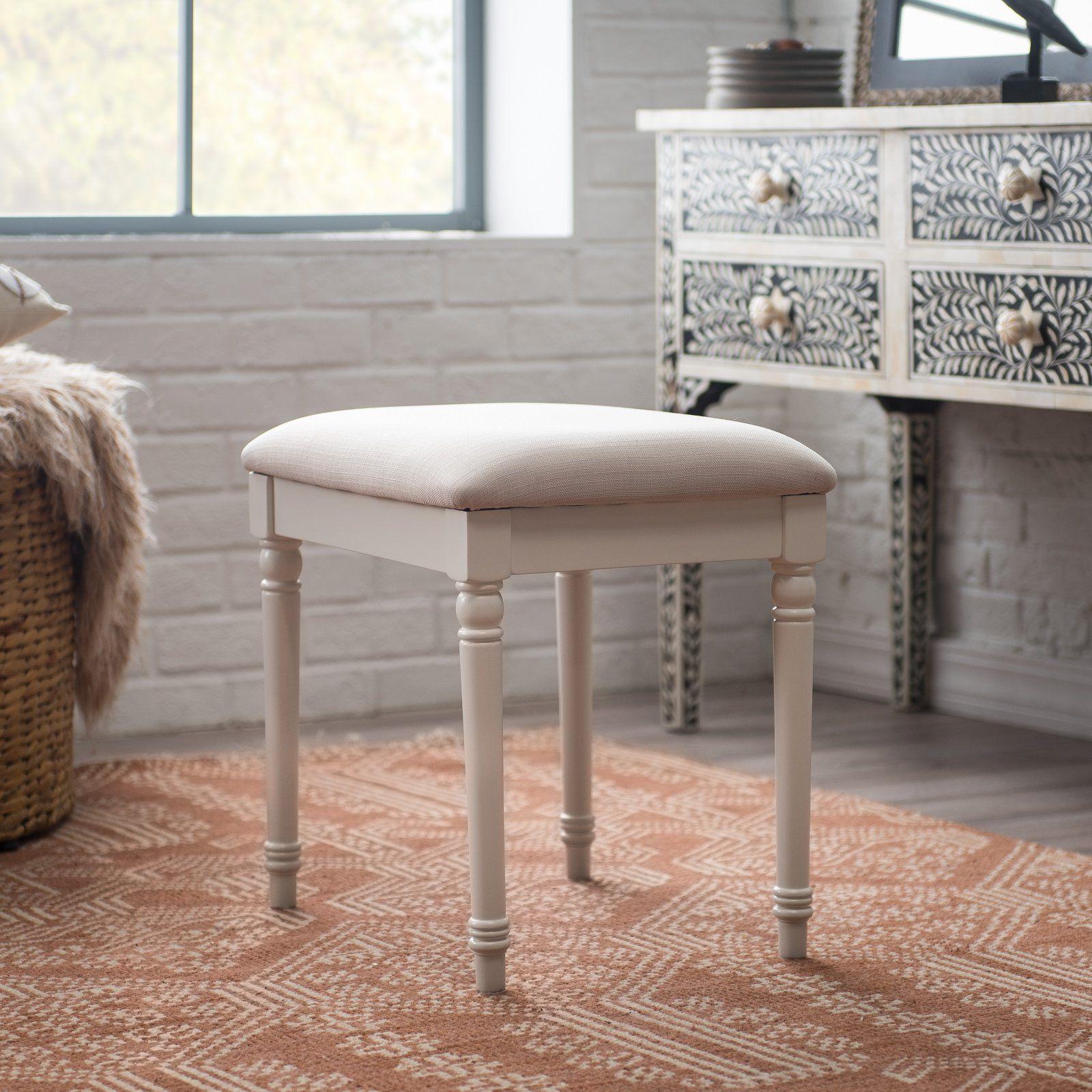 Astounding Belham Living Chelsea Vanity Stool White In 2019 Andrewgaddart Wooden Chair Designs For Living Room Andrewgaddartcom