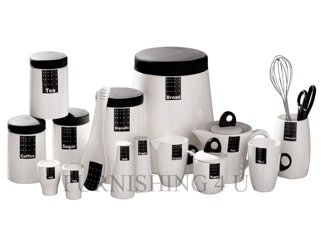 Tag Black White Kitchen Ceramic Storage Canisters Jars Set Tea Coffee Sugar