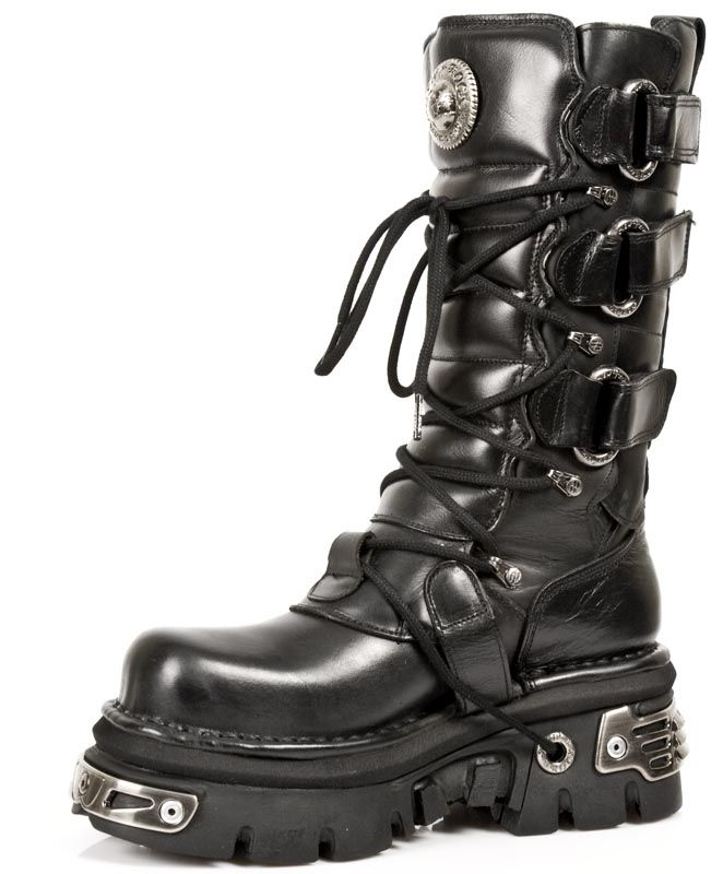 Black Leather Wide Calf New Rock Boots. Quality Black Leather Reactor  Boots. These are