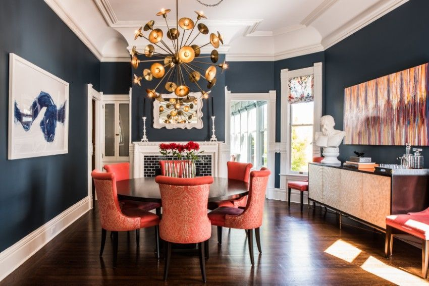 Covet Paris A Showroom With More 300 Products Exhibited Orange Dining Room Dark Blue Dining Room Dining Room Colors