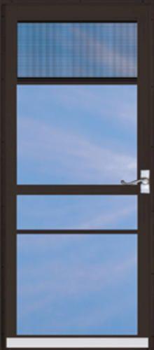 """ChamberDoor Regal 36"""" x 80"""" Nickel Hardware Aluminum Splitview Storm & Screen Door; Reversible Swing at Menards"""