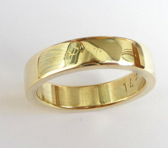 Mens Wedding Band Men S Gold Ring Men Wedding Ring Thick Massive Heavy Polished Shiny 14k Yellow Gol