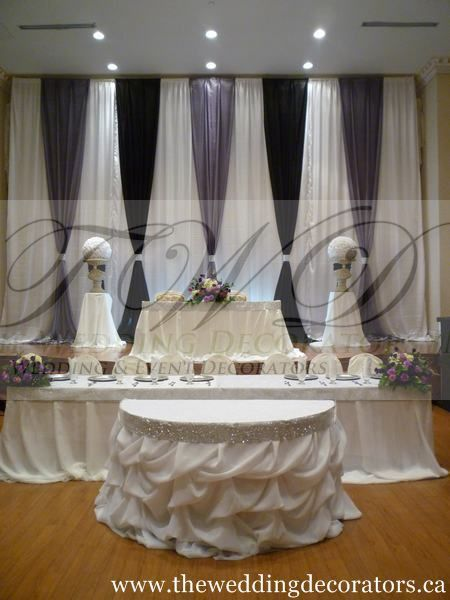 head table simple backdrop  u0026 rhinestoned table skirt