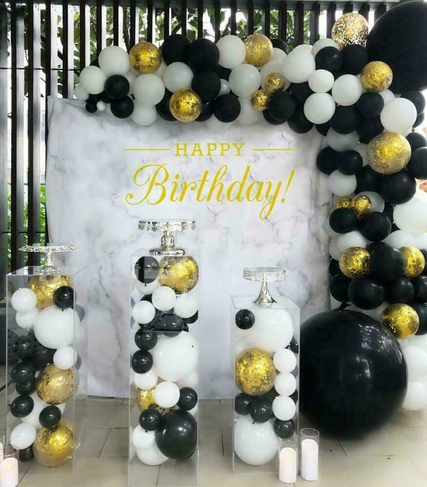 Details About Luxury Diy 3m Black White Gold Confetti Balloon