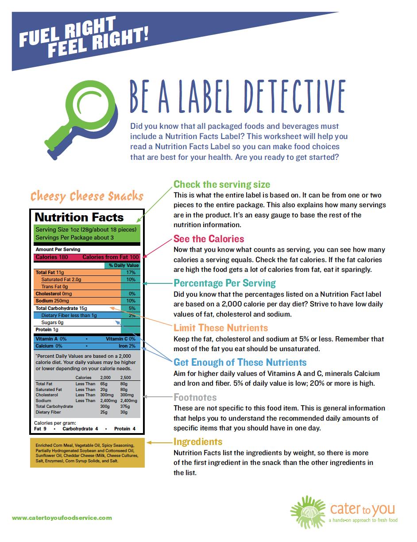 Nutrition Label Worksheet High School Besto Blog