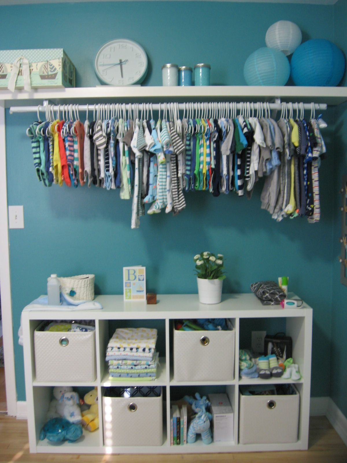 Cube shelving unit from Ikea, as well as hanging shelf. White ...