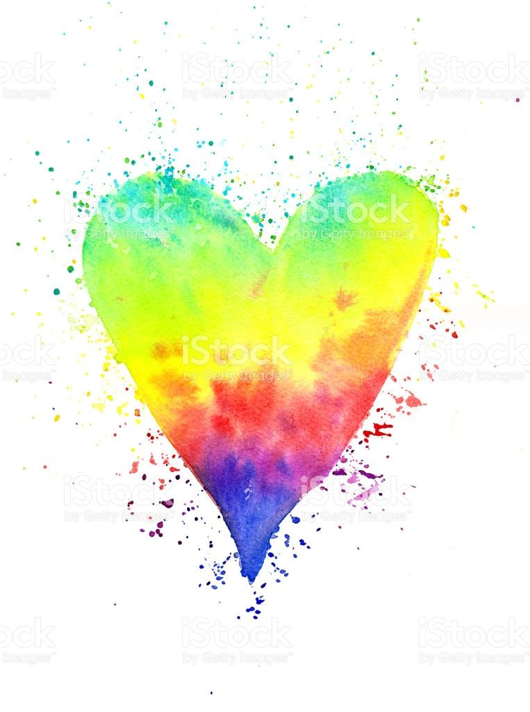 Rainbow Heart Watercolor Painting In 2020 Herz Malen