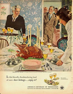 1951 Vintage Ad For Americans Beverage Of Moderation Thanksgiving Scene