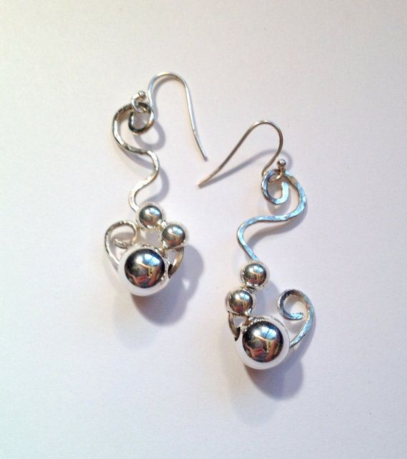 Sterling Silver Hammered Silver Ball Earrings by SpiralVineDesigns
