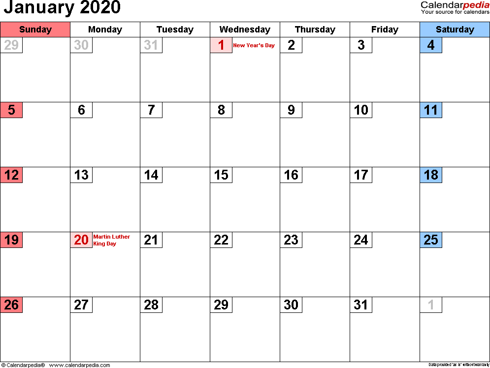 Calendario In Excel 2020.January 2020 Calendar Excel January2019
