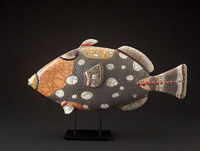 Raku ceramic golden fish pendant
