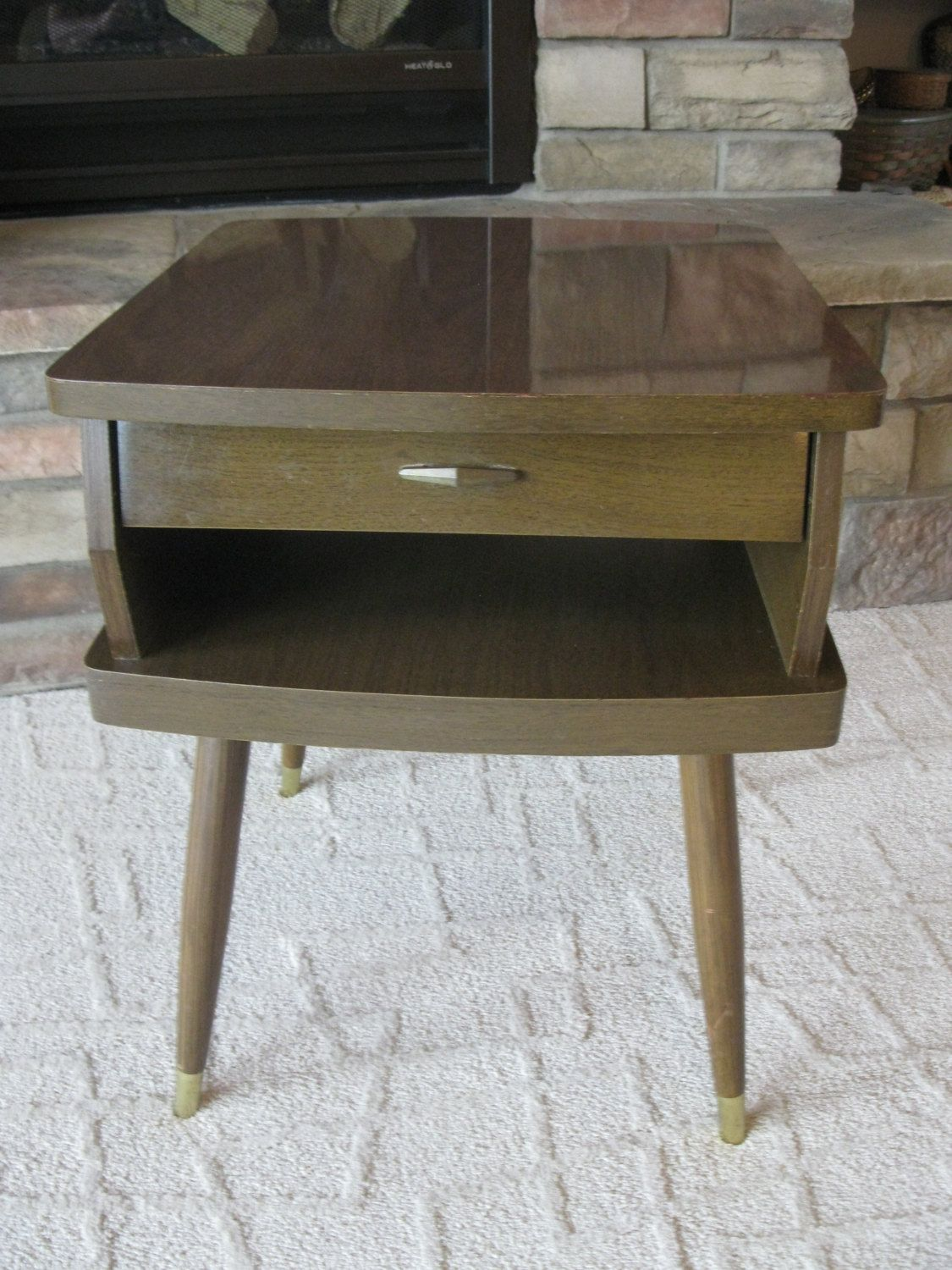 MID CENTURY MODERN Formica End Table  With Drawer  Retro Accent Table    Side Table