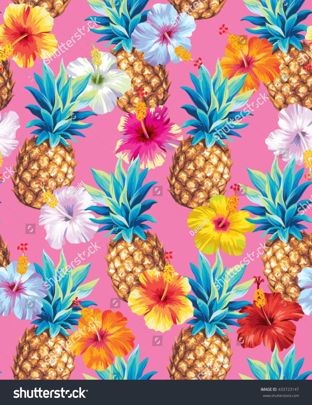 Hawaiian seamless pattern with pineapples and hibiscus