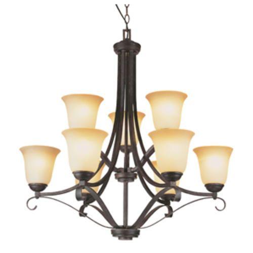 "Antique Brown 9 light 30 5"" Antique Brown Rust chandelier"