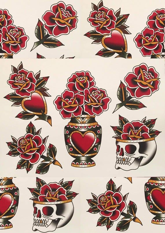 Traditional Rose Tattoo Flash In 2020 Traditional Rose Tattoos Traditional Tattoo Flowers Traditional Tattoo Art