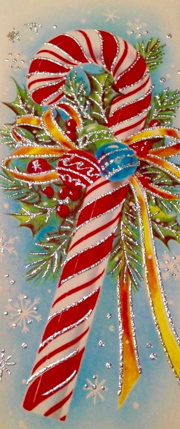 Vintage candy cane retro christmas card candy cane for Vintage christmas craft supplies
