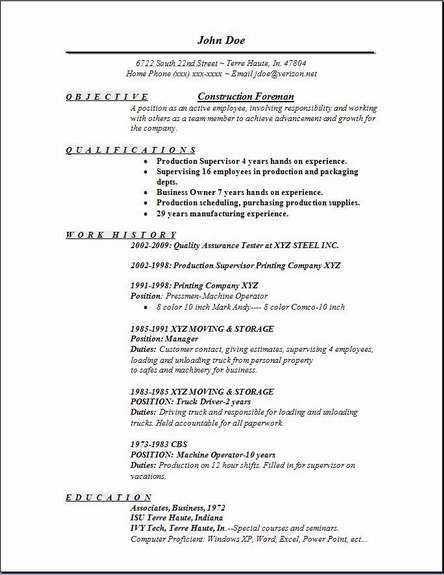 Construction Foreman Resume Occupational Examples Samples