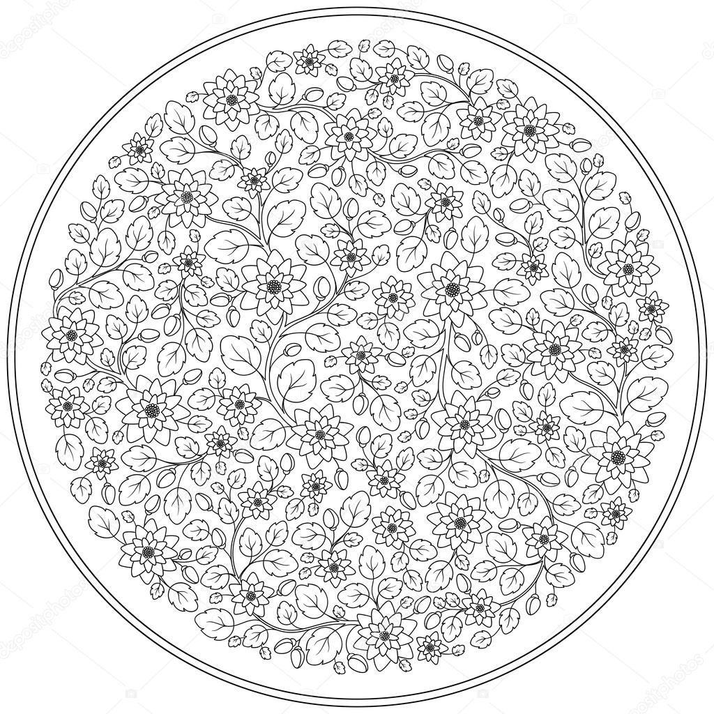 Descargar - Página para colorear con patrón de flores vintage ...