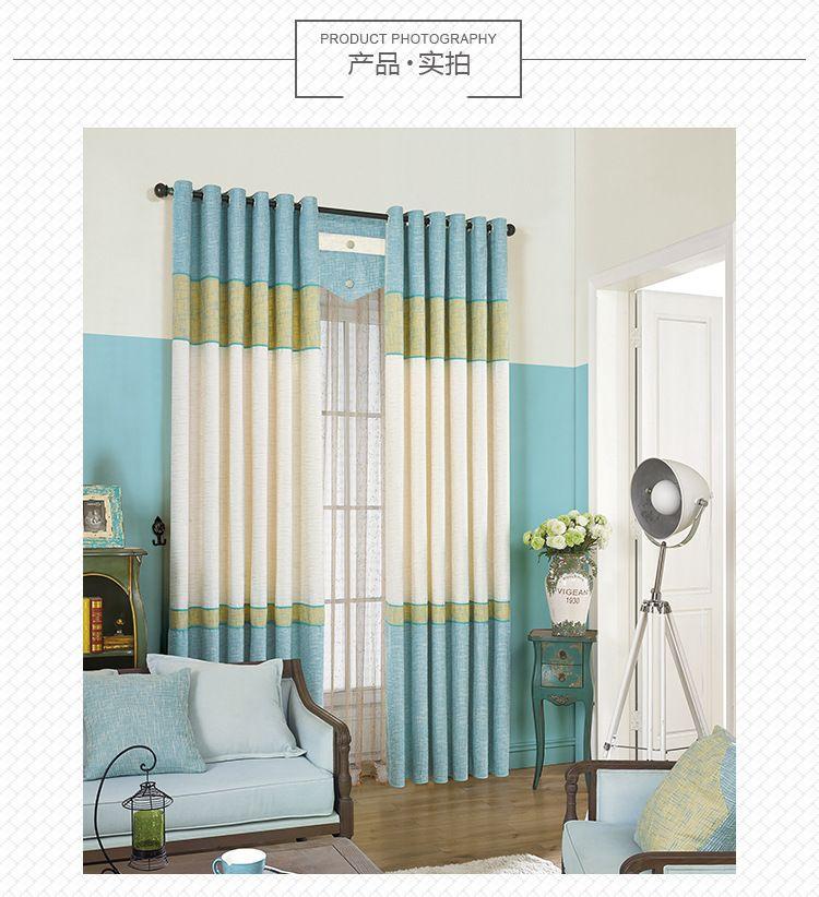 Blau Vorhang Tuch Italien Baumwollnähende Blackout Französisch Fenster  Vorhänge Feste Für Wohnzimmer Schlafzimmer Luxus Und Tüll
