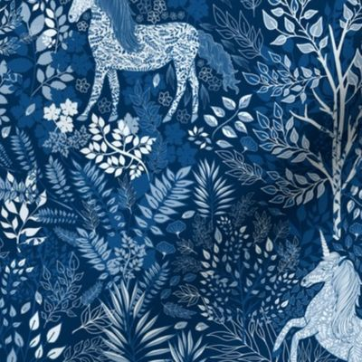 Moonlit Unicorns in the Woods of Wonderm - Spoonflower