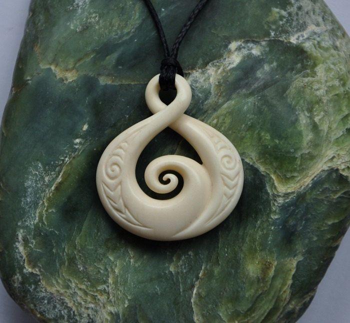 Twisting Koru Hand Carved With Engraving Maori Symbol Maori