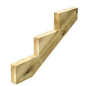 Best Wickes Decking Stair Stringer 3 Tread Light Green 250Mm 400 x 300