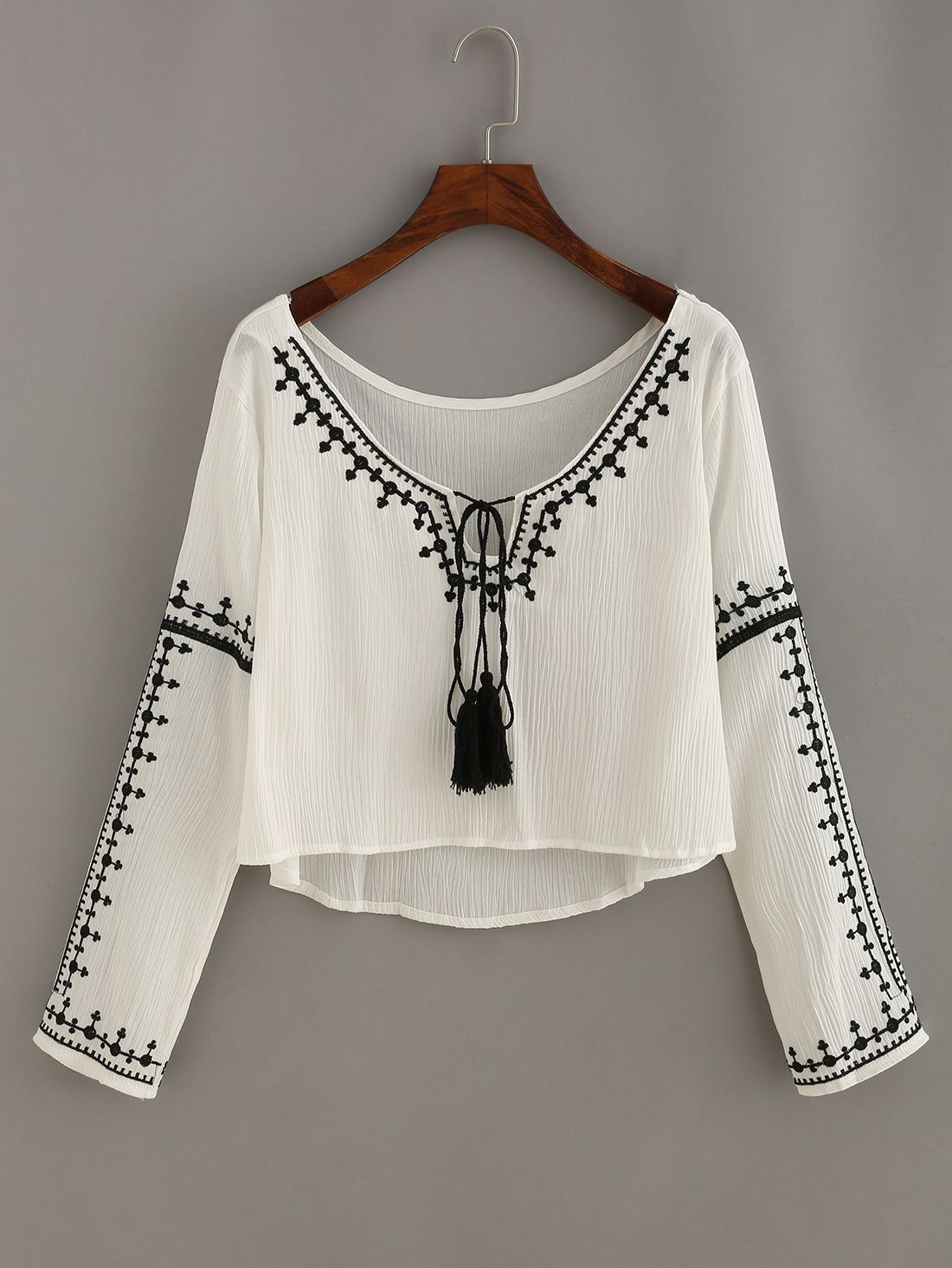 ef1aa974f8963 Shop Embroidery Tassel-Tie Neck High Low Blouse online. SheIn offers  Embroidery Tassel-Tie Neck High Low Blouse   more to fit your fashionable  needs.