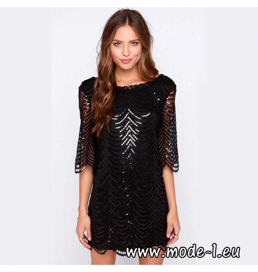 Hängerchen Pailletten Kleid Party Kleid in Schwarz | Pailletten ...