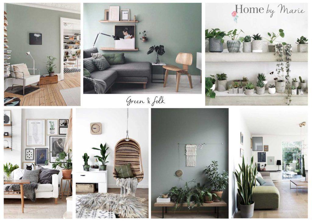 moodboard planche tendance avant apr s ma pi ce de vie ambiance green folk home by. Black Bedroom Furniture Sets. Home Design Ideas