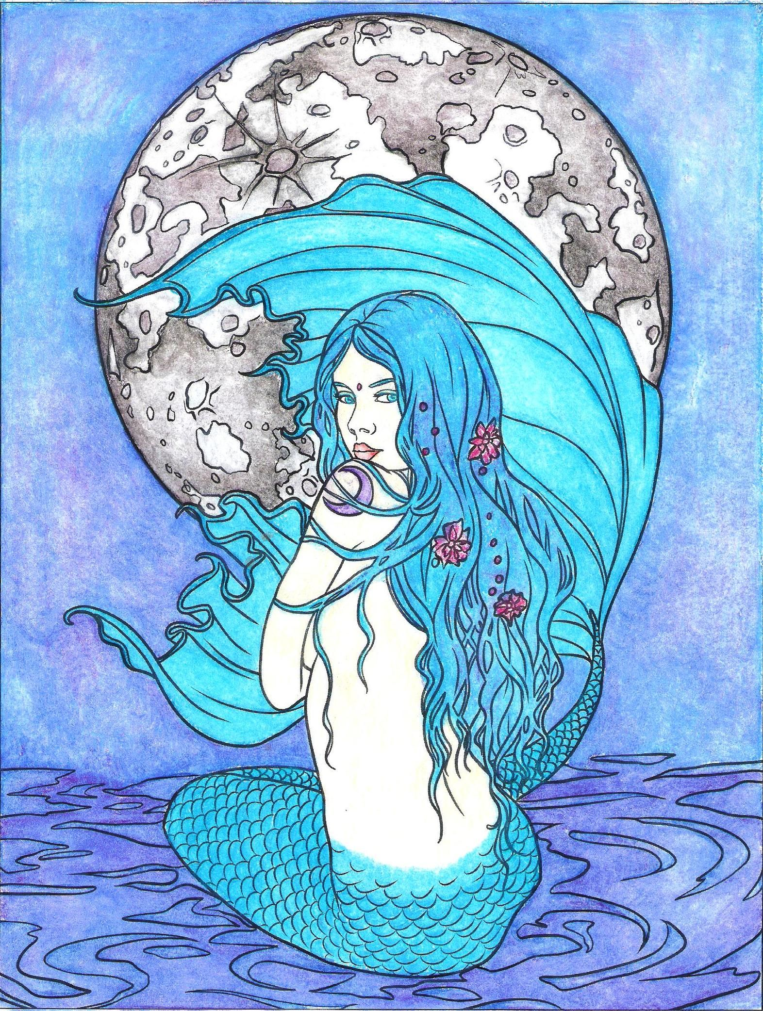 Fairy art coloring book by selina fenech - Moon Mermaid From Mermaid Coloring Book By Selina Fenech Colorselina