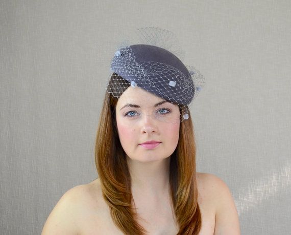 295f3b6785479 Grey Felt Pillbox Hat with Birdcage Veil Grey by RUBINA Millinery  grey   pillbox  beret  hat  birdcageveil  rubinamillinery