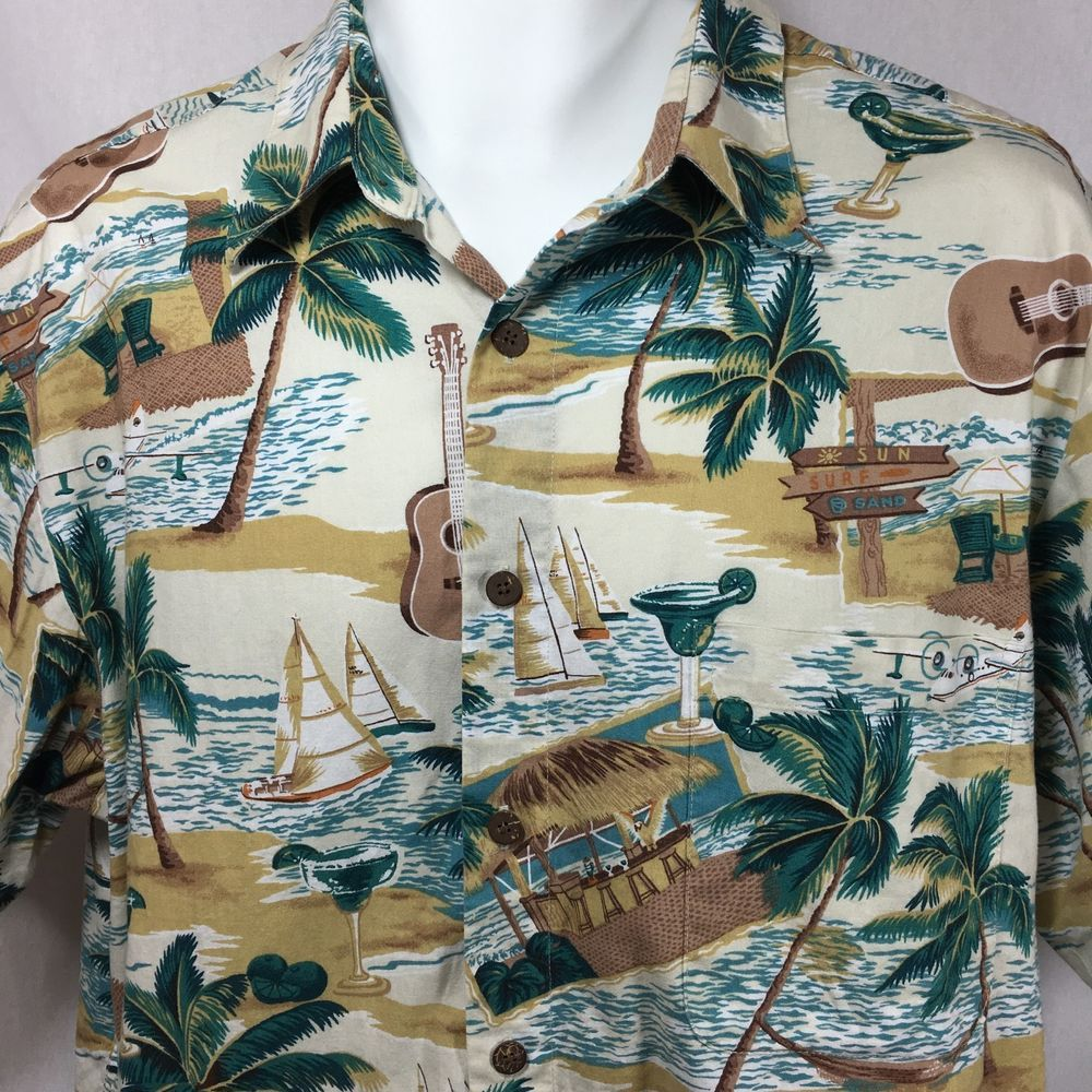 Reyn Spooner Joe Kealoha Hawaiian Aloha Shirt Size L Large Palm Trees Tiki Bar #ReynSpooner #Hawaiian
